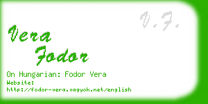 vera fodor business card